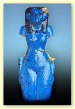 Concubine of the Dead in blue faience from the tomb of Neferhotep at Thebes